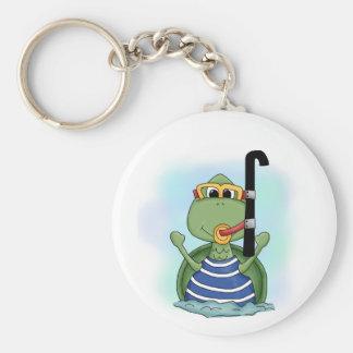 Water Turtle Tshirts and Gifts Basic Round Button Key Ring