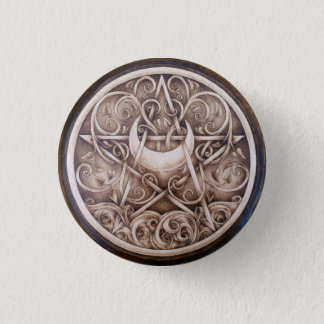 Water, Vines, and Moon Pentacle Button Pin