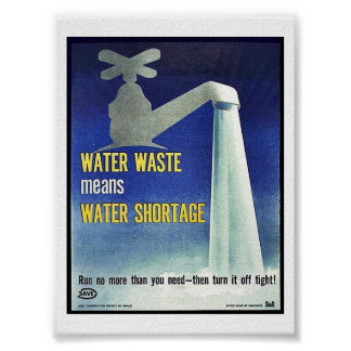 Water Waste Means Water Shortage Poster