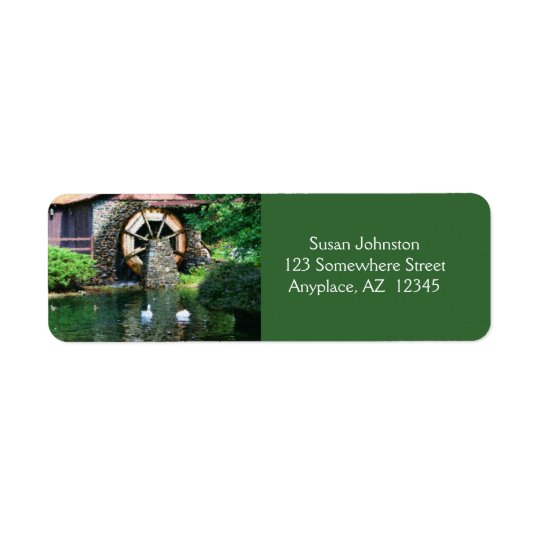 Water Wheel Pond Painting Address Label