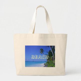 Water with palm trees, BEACH Large Tote Bag