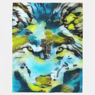 Water Wolf Spirit Watercolor Art Fleece Blanket