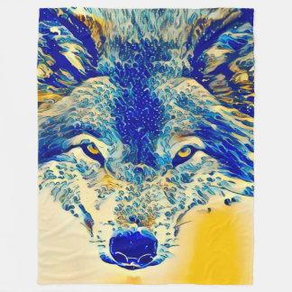 Water Wolf Watercolor Wildlife Fantasy Art Fleece Blanket