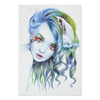 """""""Water"""" woman surreal portrait poster print"""