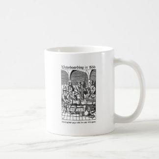 Waterboarding in 1556 basic white mug