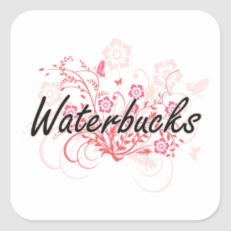 Waterbucks with flowers background square sticker