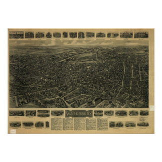 Waterbury Connecticut 1917 Antique Panoramic Map Poster