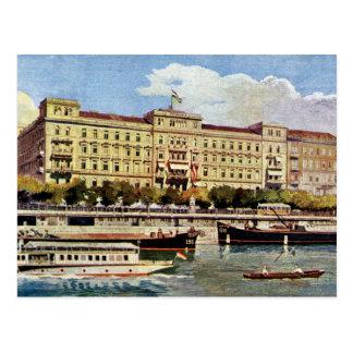 Watercolor 1920s Grand Hotel Budapest Postcard