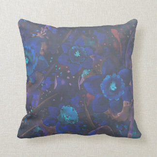 Watercolor Abstract blue Daffodil Pillow
