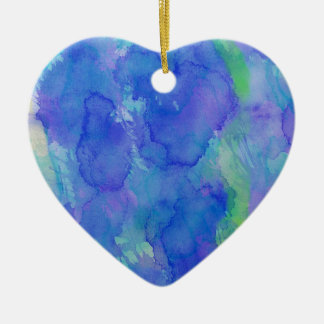 Watercolor Abstract Blue, Emerald, Green, Violet Ceramic Heart Decoration
