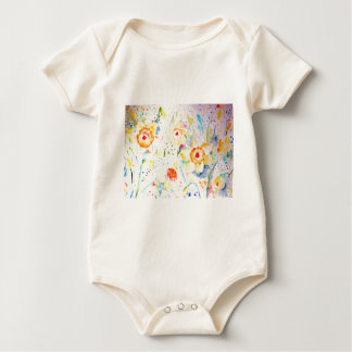 Watercolor Abstract Daffodils Pattern Baby Bodysuit