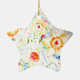 Watercolor Abstract Daffodils Pattern Ceramic Star Decoration