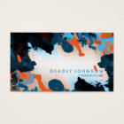 Watercolor Abstract Elegant Cool Blue Business Card