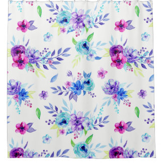 Watercolor Abstract Floral Border Shower Curtain