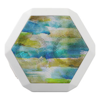 Watercolor abstract green, blue white boombot rex bluetooth speaker