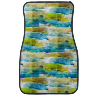 Watercolor abstract green, blue car mat