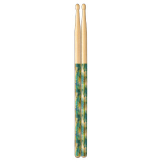 Watercolor abstract green, blue drumsticks