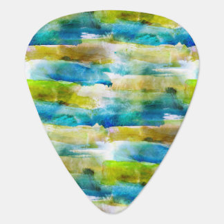 Watercolor abstract green, blue guitar pick