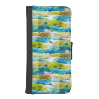 Watercolor abstract green, blue iPhone SE/5/5s wallet case