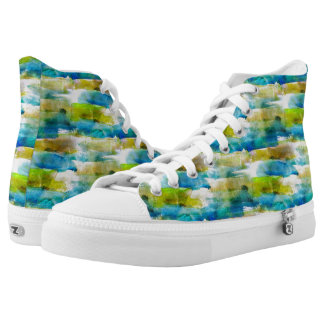 Watercolor abstract green, blue printed shoes