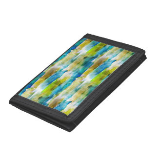 Watercolor abstract green, blue trifold wallets