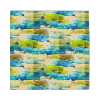 Watercolor abstract green, blue wood coaster