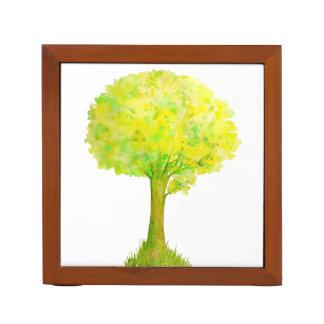 Watercolor Abstract Green Oak Tree Desk Organizer