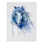 Watercolor Abstract Horse Portrait Poster