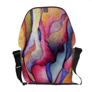 Watercolor Abstract in Pinks, Blues,Gold Courier Bag