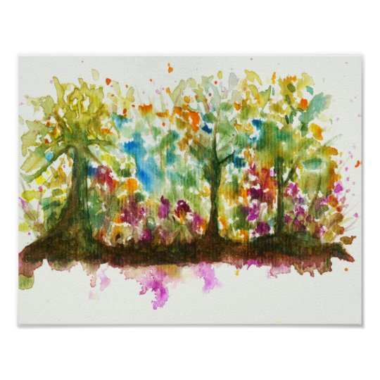 Watercolor Abstract Landscape Art Trees Forest Poster