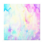Watercolor abstract Landscape blue purple canvas Stretched Canvas Print