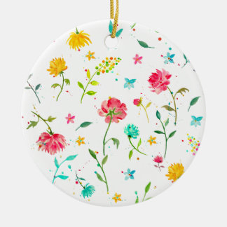 Watercolor Abstract Peony Round Ceramic Decoration