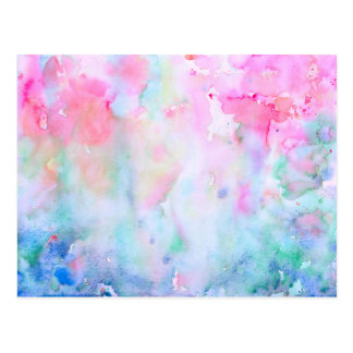 Watercolor Abstract Pink Pattern, Pink Forest Postcard