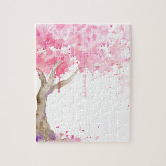 Watercolor abstract pink tree, cherry tree jigsaw puzzle