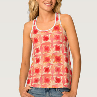 Watercolor Abstract Stars, Coral Orange and Peach Tank Top