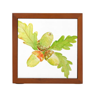 Watercolor Acorn and Leaves Desk Organizer