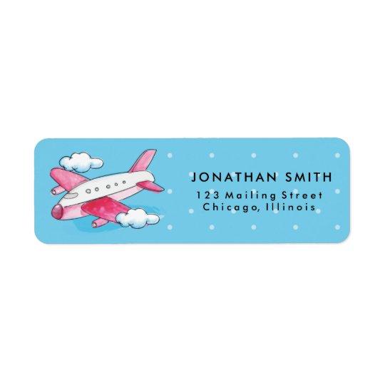 Watercolor Aeroplane Travel Return Address Label