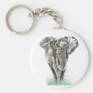 Watercolor African Elephant Animal Nature Art Basic Round Button Key Ring