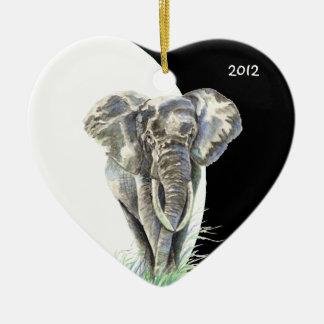 Watercolor African Elephant Animal Nature Art Ceramic Heart Decoration