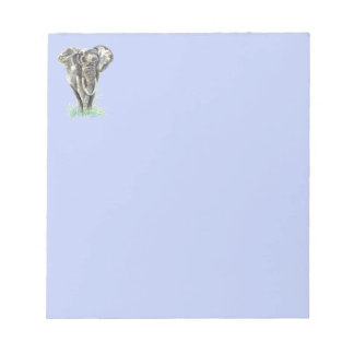 Watercolor African Elephant Animal Nature Art Notepad