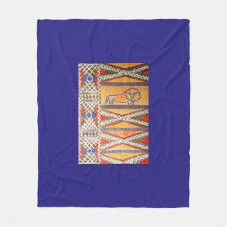 Watercolor African inspired lion Fleece Blanket