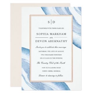 Watercolor Agate Slice Wedding Invite | Blue