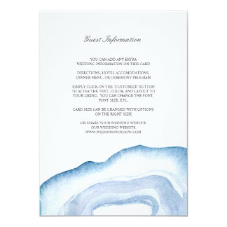 Watercolor Agate Wedding Insert Card | Blue