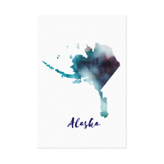 Watercolor Alaska United States Canvas Print