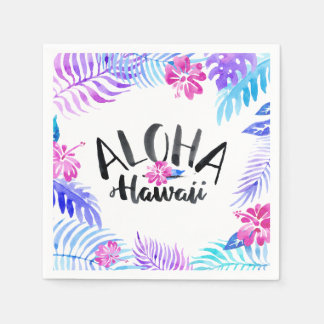 Watercolor Aloha Hawaii Tropical | Napkin Disposable Serviette