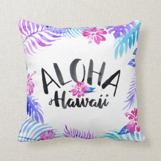 Watercolor Aloha Hawaii Tropical Throw Pillow