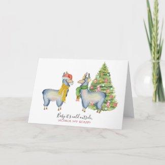 Watercolor Alpaca Holiday Card