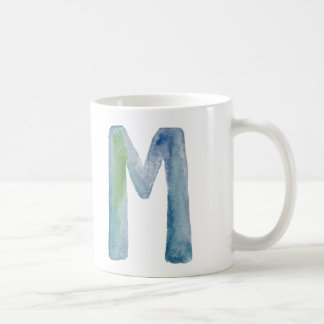 WATERCOLOR ALPHABET MONOGRAM LETTER 'M' | MUG