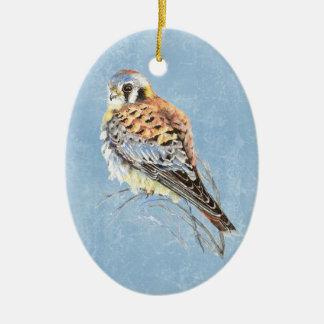 Watercolor American Kestrel, Falcon Bird Hawk Christmas Ornament
