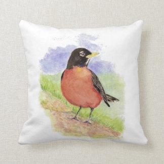 Watercolor American Robin Garden Bird Cushion